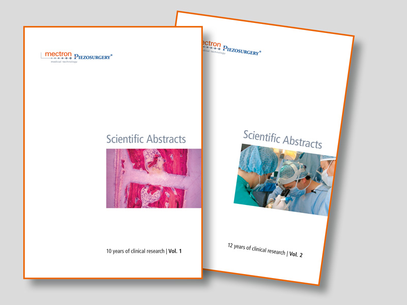 covers of mectron PIEZOSURGERY® abstract books, Volume 1 and Volume 2